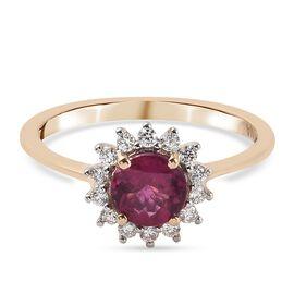 ILIANA 18K Yellow Gold AAAA Rubellite and Diamond (SI/G-H) Ring 1.00 Ct.