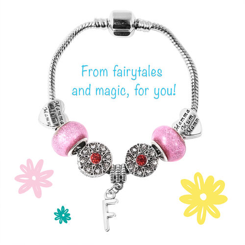 F Initial Charm Bracelet for Children in Simulated Pink Colour Bead, Red and White Austrian Crystal Size 6.5 Inch in Silver Tone