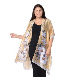 Plum Blossom Flower Pattern Kimono (Size 83x90 Cm) - Golden