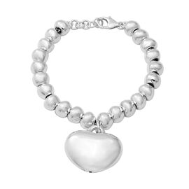 Sterling Silver Heart and Bead Bracelet (Size 7), Silver wt. 19.00 Gms