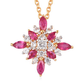African Ruby and Natural Cambodian Zircon Snowflake Pendant with Chain (Size 18) in 14K Yellow Gold