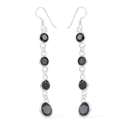 ELANZA AAA Simulated Black Spinel (Rnd) Hook Earrings in Sterling Silver