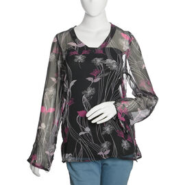 Black, Pink and Multi Colour Floral Printed Tunic Size 65X50 Cm