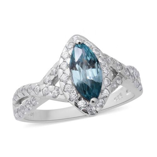 Ratnakiri Blue Zircon and Cambodian Zircon Ring in Rhodium Overlay Sterling Silver 2.53 Ct