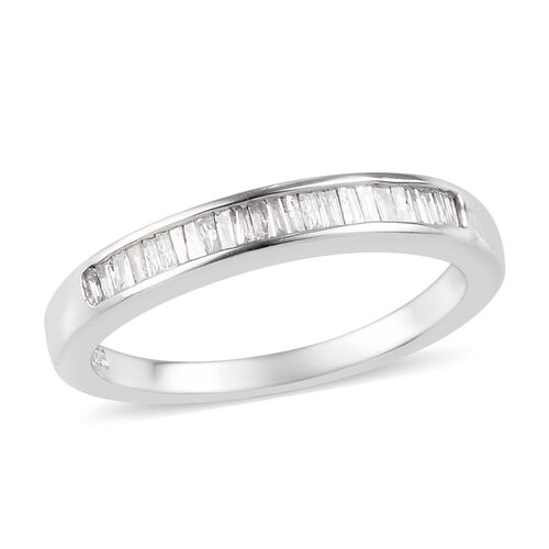 0.25 Ct Diamond Half Eternity Band Ring in Platinum Plated Sterling Silver