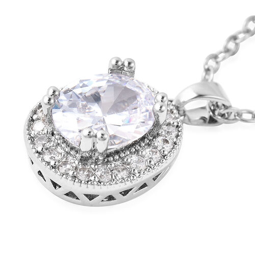 3 Piece Set- Simulated Diamond Ring, Earrings (with Clasp) and Pendant With Chain (Size 18 with 3 inch Extender) in Silver Tone