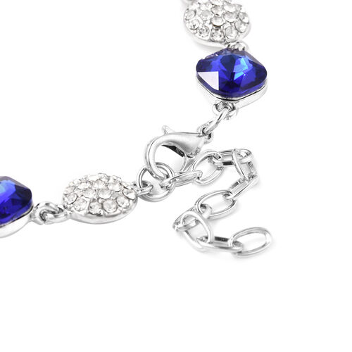 Simulated Sapphire, White Austrian Crystal Bracelet (Size 8 with 2 inch Extender) in Silver Tone