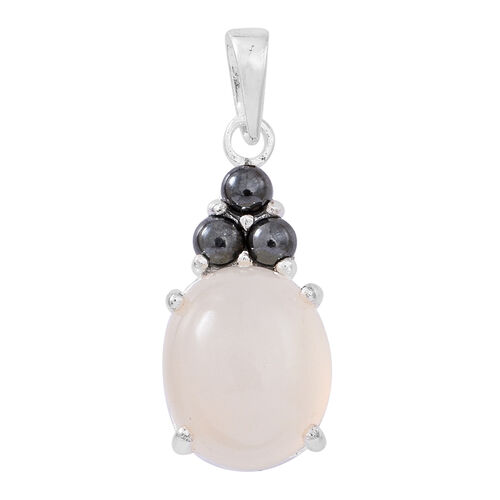 Silver Moonstone (Ovl 4.00 Ct), Natural Hematite Pendant in Sterling Silver 4.500 Ct.