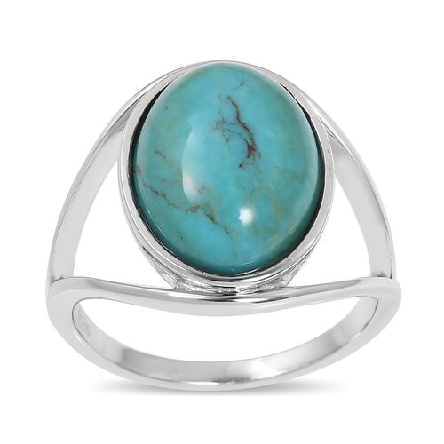 Anhui Turquoise (Ovl) Solitaire Ring in Rhodium Plated Sterling Silver 6.800 Ct.