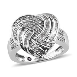 GP 0.35 Ct Diamond Heart Cluster Ring in Platinum Plated Sterling Silver 4.9 Grams