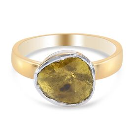Yellow Polki Diamond Handcrafted Ring in 14k Gold Overlay Sterling Silver 0.50 Ct