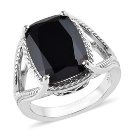 8 Carat Boi Ploi Black Spinel Solitaire Ring in Platinum Plated Silver