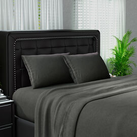 Serenity Night 4 Piece Set - Solid Microfibre 1 Flat Sheet (275x265cm), 1 Fitted Sheet (150x200+30cm