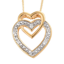 Diamond (Rnd) Heart Pendant With Chain in 14K Gold Overlay Sterling Silver