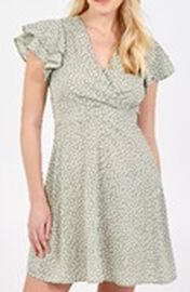 Nova of London Wrap Front Frill Sleeve Dress in Mint Colour (Size 10)