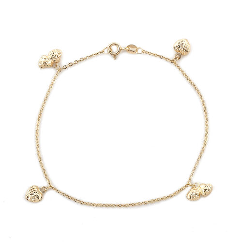 Royal Bali Collection 9K Yellow Gold Bracelet (Size 7.5) with Heart Charm