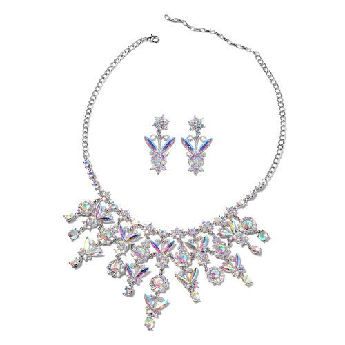 2 Piece Set - Simulated Mercury Mystic Topaz (Mrq), Simulated Mystic White Crystal Necklace (Size 20
