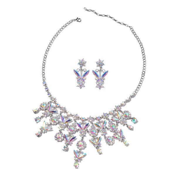 2 Piece Set - Simulated Mercury Mystic Topaz (Mrq), Simulated Mystic White Crystal Necklace (Size 20