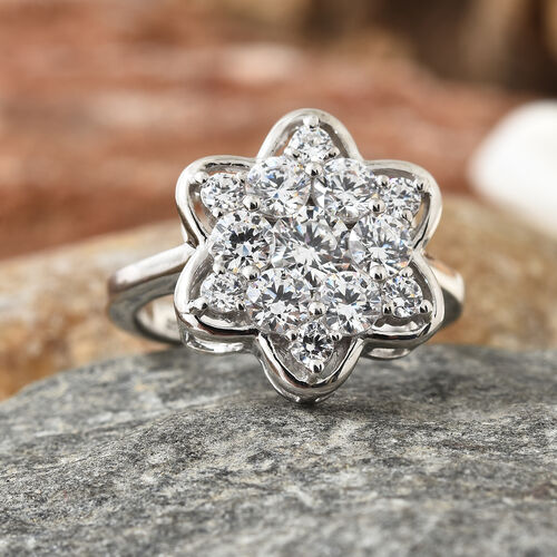 J Francis Platinum Overlay Sterling Silver (Rnd) Snowflake Ring Made with SWAROVSKI ZIRCONIA