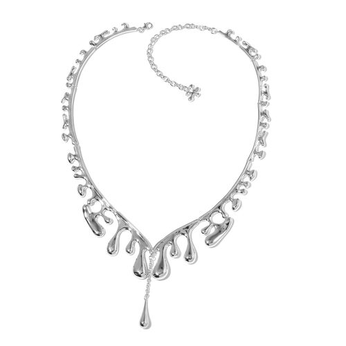 LucyQ Outer Wave Single Drip Necklace (Size 16 with 4 inch Extender) in Rhodium Plated Sterling Silver 60.70 Gms.