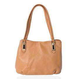Super Soft 100% Genuine High Glossed  Leather Yellow Colour Tote Bag with External Zipper Pocket (Si