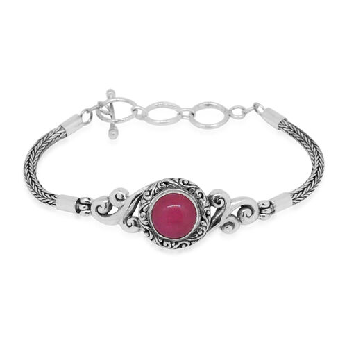 Royal Bali Collection Pink Jade (Rnd) Bracelet (Size 8 with Extender) in Sterling Silver 5.080 Ct. Silver wt. 14.00 Gms.