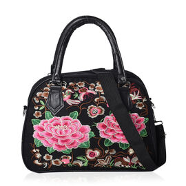 Shanghai Collection - Embroidered Floral Pattern Tote Bag with Zipper Closure and Detachable Shoulde
