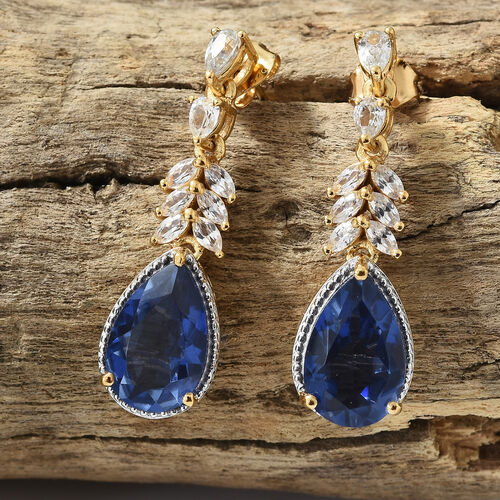 Ceylon Colour Quartz (Pear), Natural Cambodian Zircon Earrings (with Push Back) in 14K Gold Overlay Sterling Silver 11.750 Ct, Silver wt 7.09 Gms.
