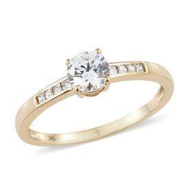 J Francis - 9K Yellow Gold (Rnd) Ring Made with SWAROVSKI ZIRCONIA