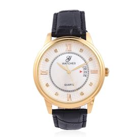 GENOA Japanese Movement Water Resistant White Crystal Studded MOP Dial Watch with Genuine Leather Bl