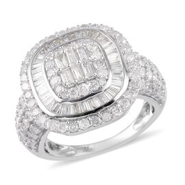 9K White Gold SGL Certified Diamond (I3-GH) Diamond Cluster Ring 2.00 Ct, Gold wt. 5.00 Gms