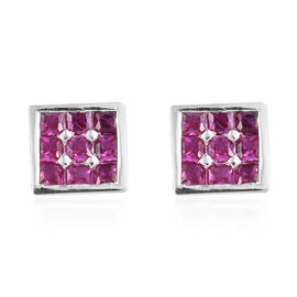 Princess Cut Simulated Ruby Stud Earrings in Sterling Silver