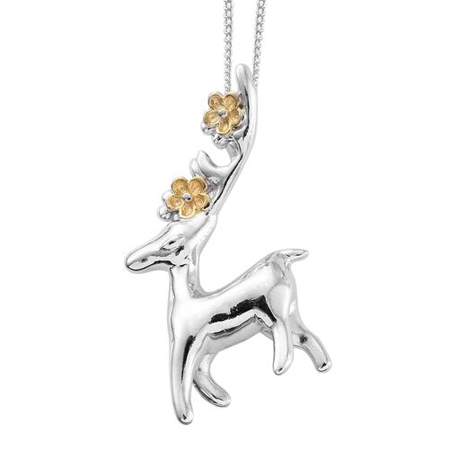 Platinum and Yellow Gold Overlay Sterling Silver Deer Pendant With Chain, Silver wt 5.01 Gms.
