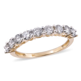 9K Yellow Gold SGL Certified Diamond (Rnd) (I3/G-H) Eternity Ring 1.00 Ct.