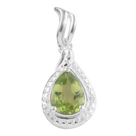 One Time Deal- Tucson Collection- Peridot (Pear), Diamond Pendant in Sterling Silver 1.750 Ct.