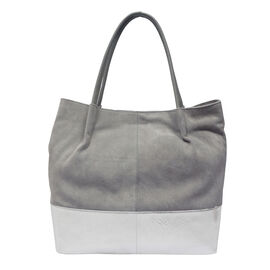 Assots London Donna Genuine Suede Leather Slouchy Metallic Shopper Bag Size 38x38x13cm - Grey and Silver