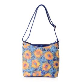 Waterproof  Multi Colour and Sunflower Pattern Digital Printed Shoulder Bag (Size 28.5x28.5x14 Cm)
