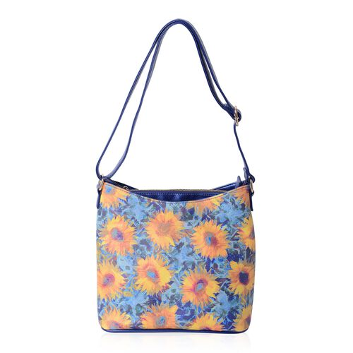 Waterproof  Multi Colour and Sunflower Pattern Digital Printed Shoulder Bag (Size 28.5x28.5x14 Cm)