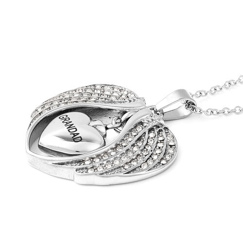 White Austrian Crystal Grandad Angel Wing Heart Memorial Urn Pendant with Chain (Size 20) in Stainless Steel