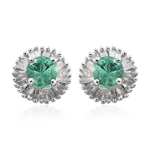 0.90 Ct AA Boyaca Colombian Emerald and Diamond Stud Earrings in 9K White Gold (with Push Back)