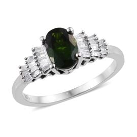 Russian Diopside (Ovl), Diamond Ring in Platinum Overlay Sterling Silver 1.00 Ct.