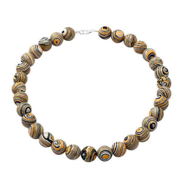Black and Yellow Malachite Beads Necklace (Size - 18) in Sterling Silver 450.00 Ct.