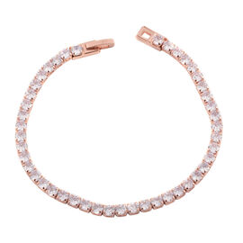 Simulated Diamond (Rnd) Bracelet (Size 7.75) in Rose Gold Plated