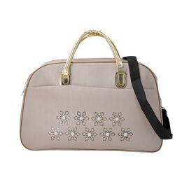 Floral Pattern Travel Bag with Detachable Shoulder Strap and Zipper Closure (Size 52x20x34 Cm) - Cre