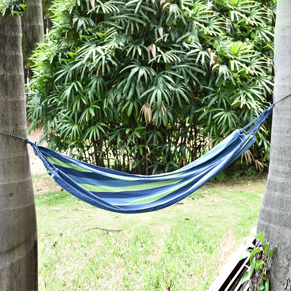 Indoor Outdoor Colourful Striped Camping Hammock (Size 1.85x80 Cm) - Blue & Multi