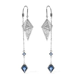 Isabella Liu - Sea Rhyme Collection - London Blue Topaz Drop Earrings in Rhodium Overlay Sterling Si