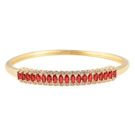 Simulated Ruby and Simulated Diamond Bangle in Gold Tone 7.5 Inch