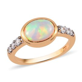 Ethiopian Opal and Natural Cambodian Zircon Ring in 14K Gold Overlay Sterling Silver 1.50 Ct