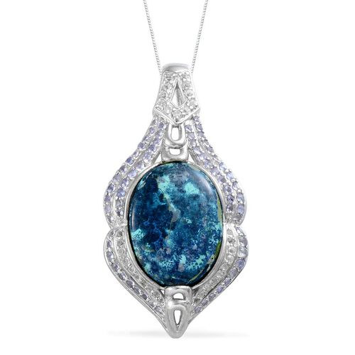 Table Mountain Shadowkite (Ovl 25.75 Ct), Tanzanite and White Topaz Pendant With Chain in Platinum Overlay Sterling Silver 27.550 Ct.