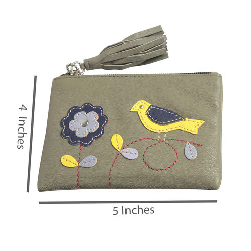 100% Genuine Leather RFID Blocker Khaki, Yellow and Multi Colour Bird with Flower Pattern Coin Wallet (Size 13X9 Cm)